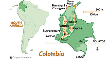 Map of Columbia - from Globalsurfers.com