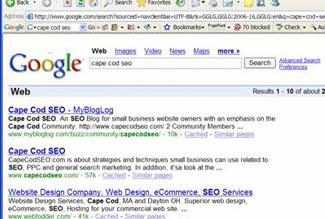 Cape Cod SEO ranking on Google