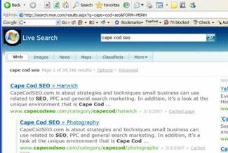 Cape Cod SEO ranking on MSN