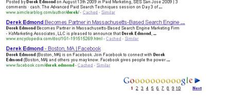 "Facebook ranks #10 in Google Search Results for ""Derek Edmond"""
